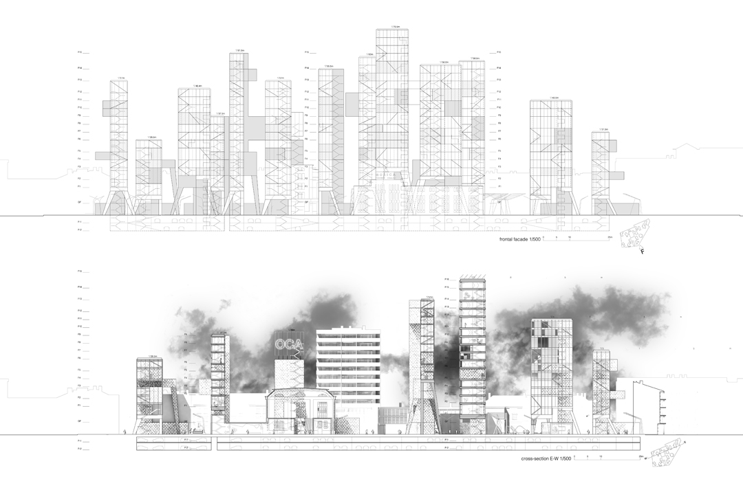 Residential towers elevation