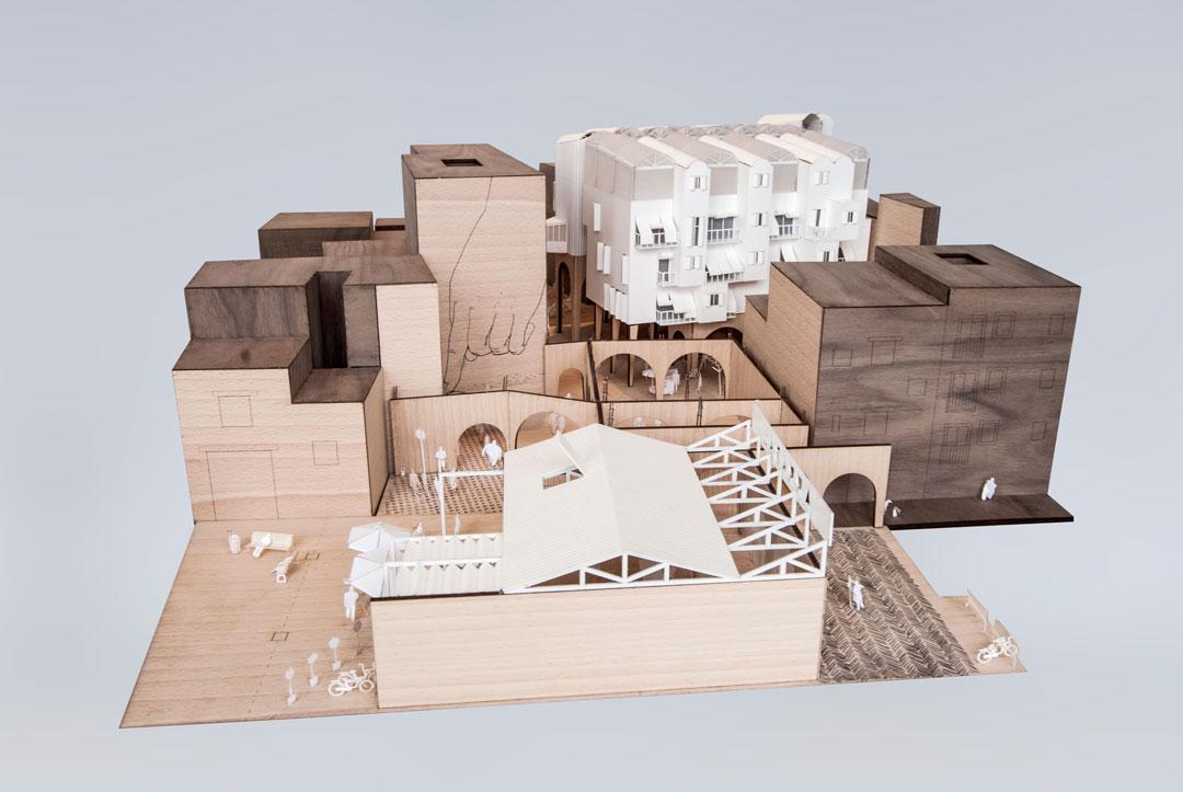 Maqueta de la propuesta de regenerancion de barrio