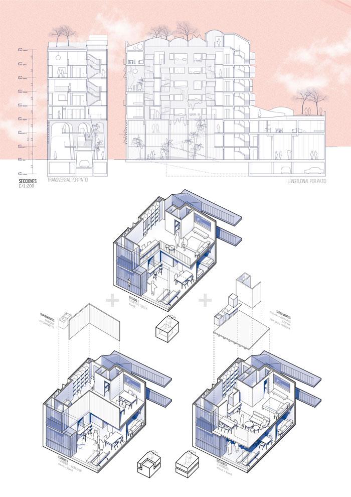 Desarrollo de la tipología de vivienda y sección
