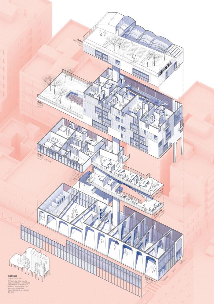 Axonometría explotada del edificio