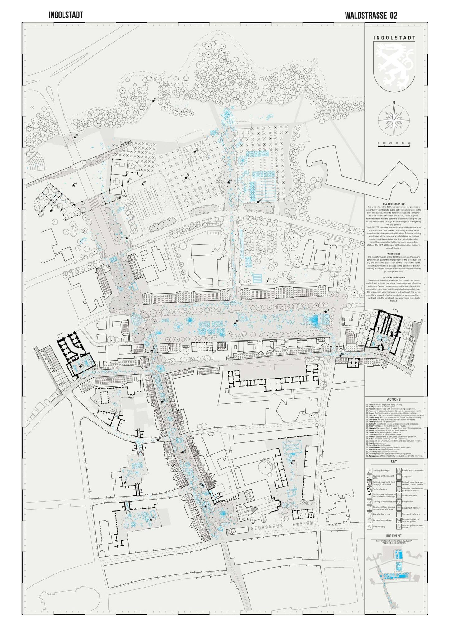 General plan of the urban intervention. The forest enters the city