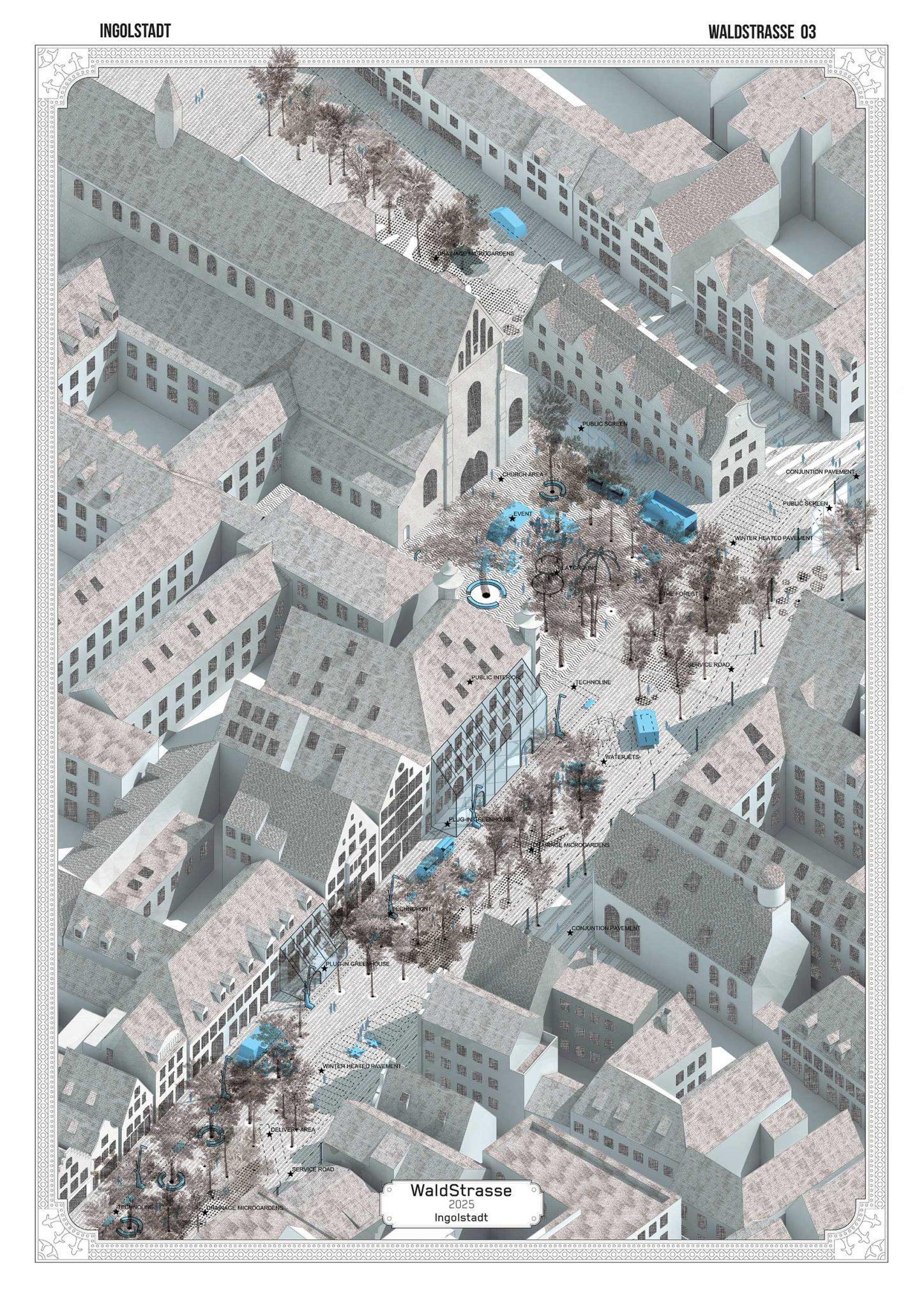Axonometría de la plaza principal de Ingolstadt convertido en bosque urbano