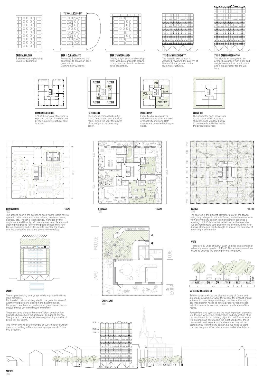 Lamina de concepcion del edificio de viviendas productivas
