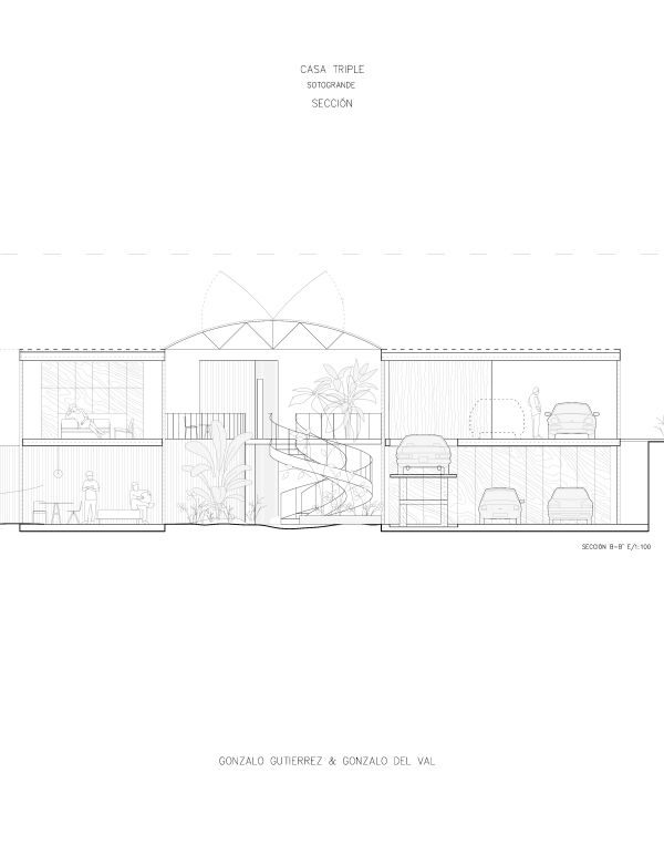 Seccion de la vivienda con invernadero